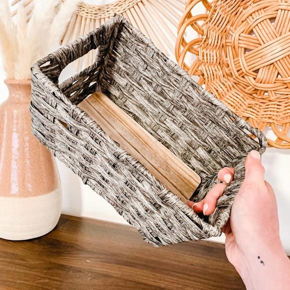 Grey Wicker Paper Weave Storage Basket Bin